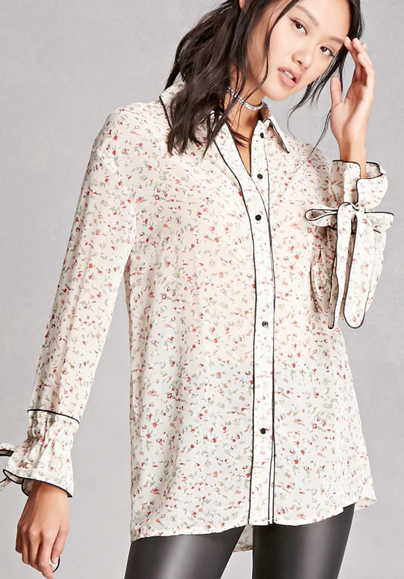 The Face Of Style - Best Of Button Down - Forever 21 chiffon