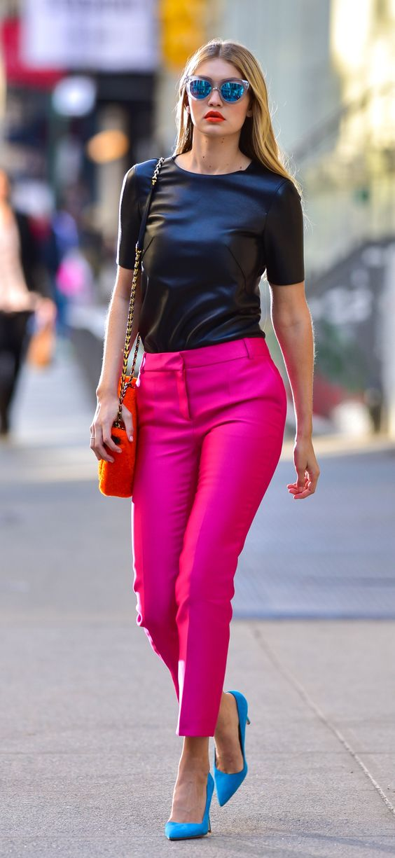 Outfit Inspiration - Bright Pink Trousers - The Face Of Style