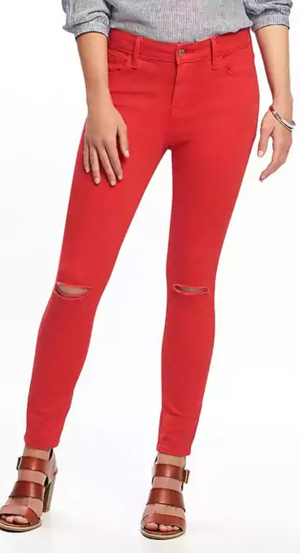 5 Pieces to Brighten Up Your Wardrobe -Old Navy Red Jeans- The Face Of Style