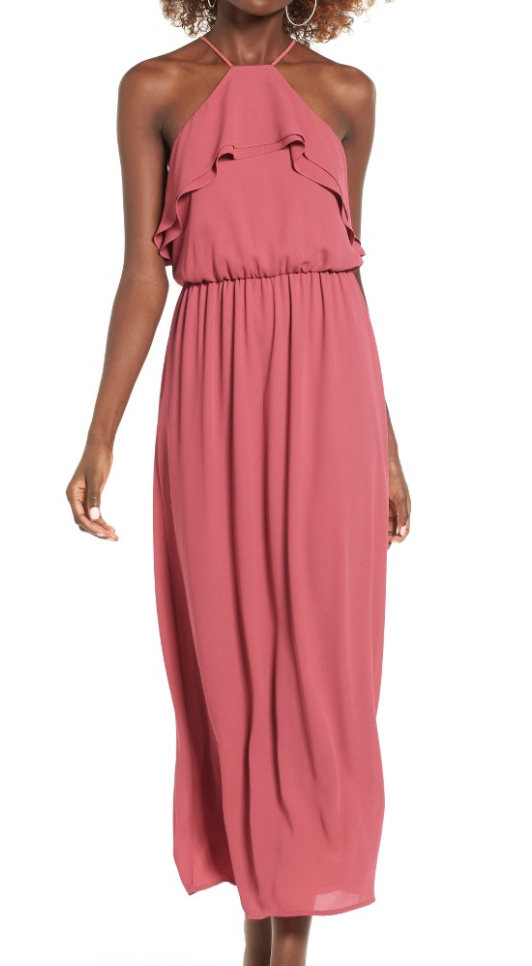 The Face Of Style: 20 Best Picks From Nordstrom Half Yearly Sale - Lush Pink Ruffle Maxi Dress