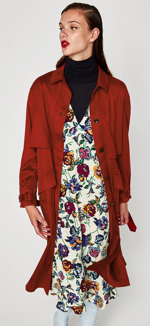 All The Red Things You Need In Your Wardrobe - Zara Faux Suede Trench- The Face Of Style