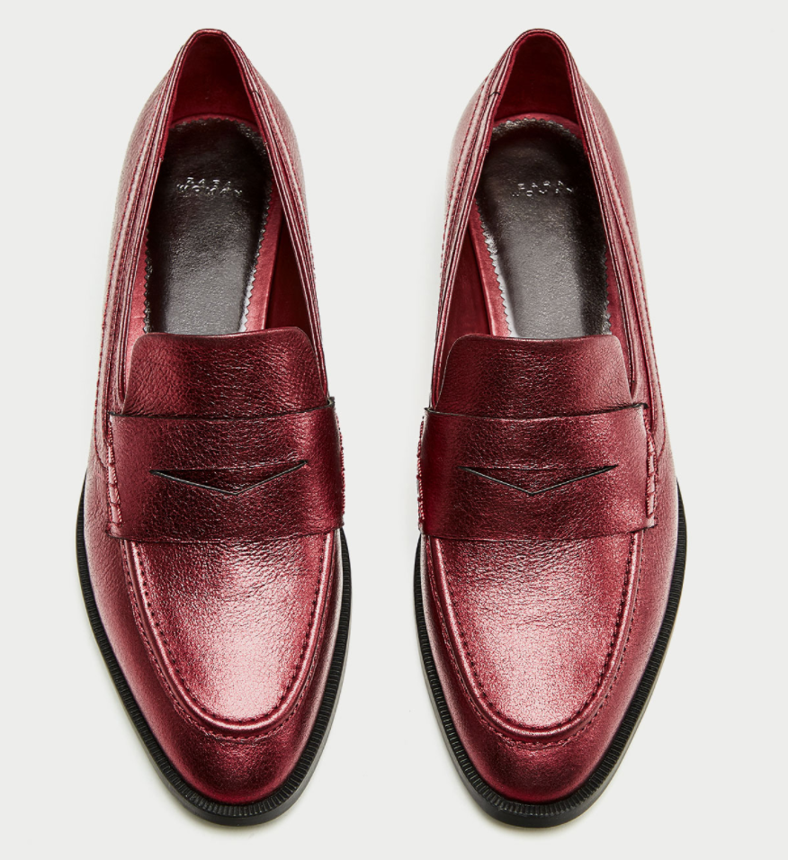All The Red Things You Need In Your Wardrobe - Zara Metallic Loafers The Face Of Style