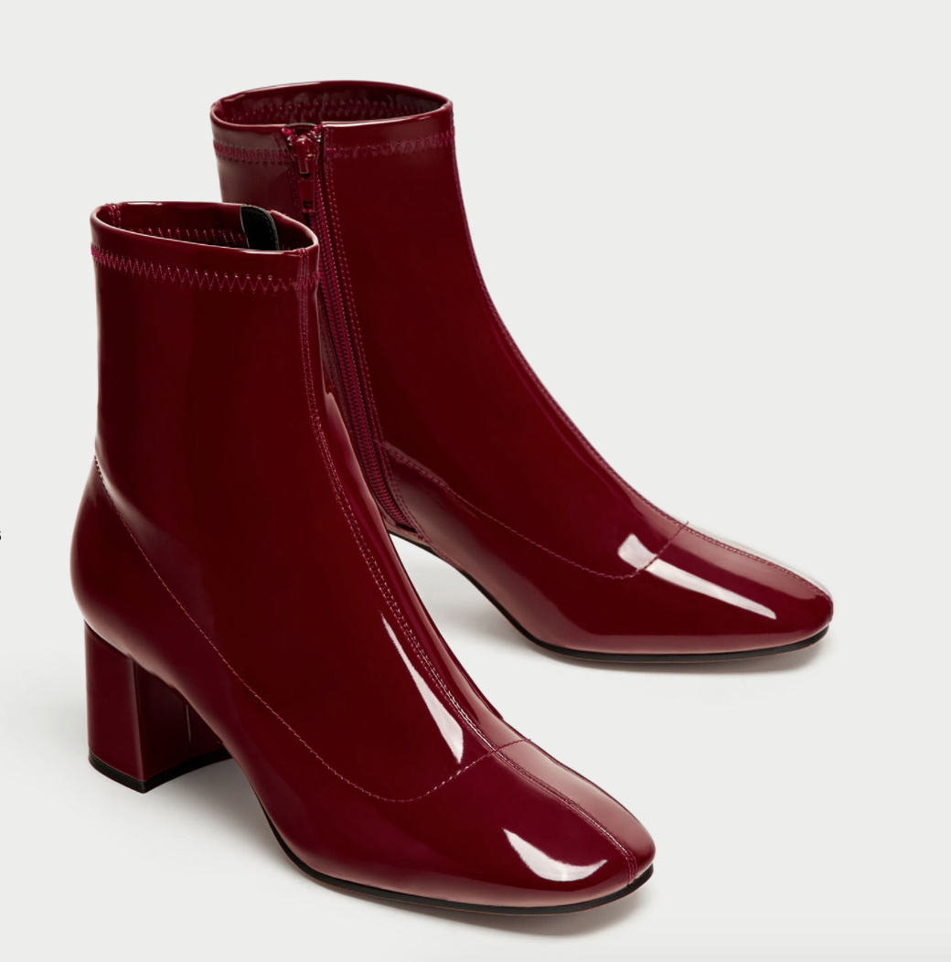 All The Red Things You Need In Your Wardrobe - Zara Patent Sock Boots - The Face Of Style