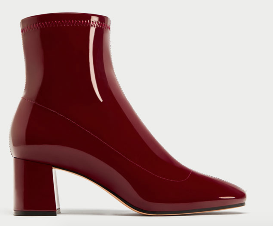 6 Must Have Shoes For Fall - Zara High Heel Faux Leather Patent Boots - The Face Of Style