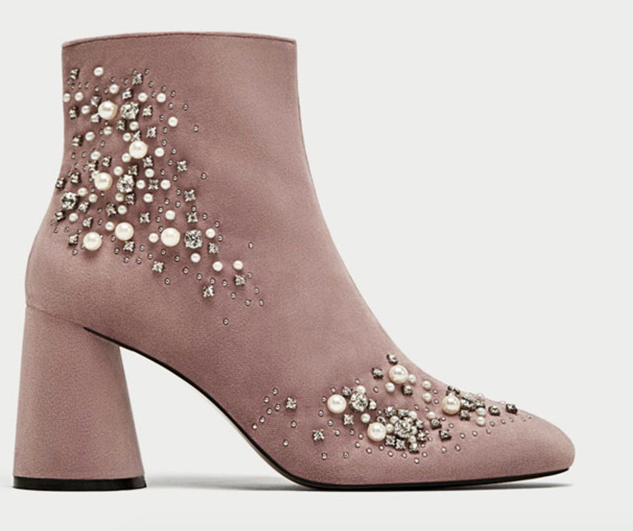 6 Must Have Shoes For Fall - Zara Beaded Velvet Ankle Boots - The Face Of Style