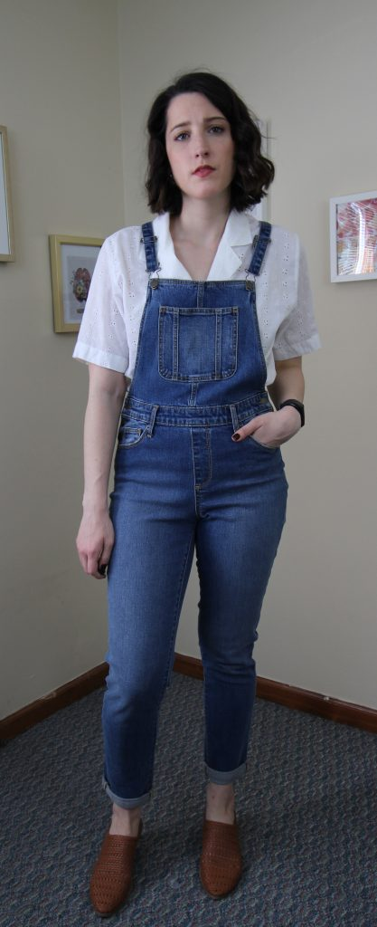overalls with soft eyelet and woven mules